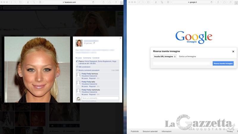 Due finestre affiancate per individuare tramite Google Immagini le foto di profilo false