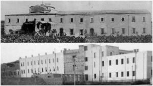 Prospetti posteriori del vecchio convento (anni '40) e della parte nuova del convento dei Frati Cappuccini (anni '60)