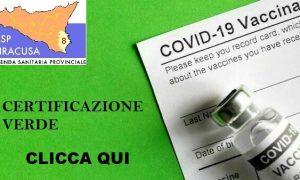 """Covid, l'Asp Siracusa avvia rilascio """"certificazione verde"""". Aperte prenotazioni vaccino per 50-59"""